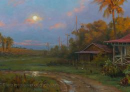 Artwork Photography of Sunsetting Moonrise by Mary Pettis