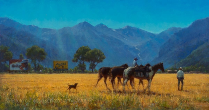 Moving Horses 20x38-Carl Bretzke