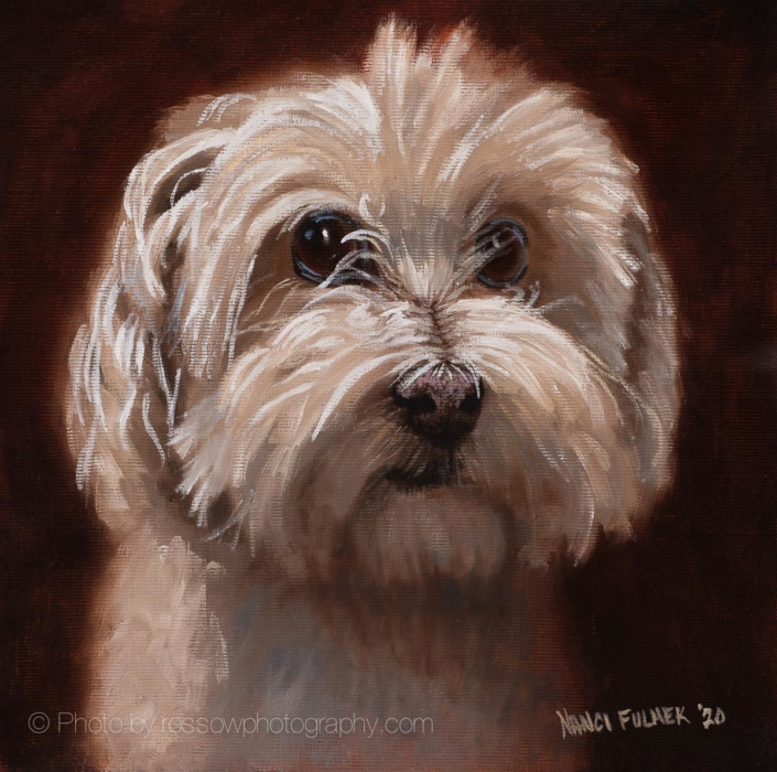 Gavin, cute dog portrait painting-Nanci Fulmek