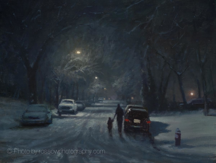 Recent Snow, Quiet Street 12x16 - Carl Bretzke