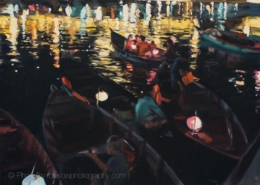 Thu Bon River, Hanoi painting by Paul Oxborough