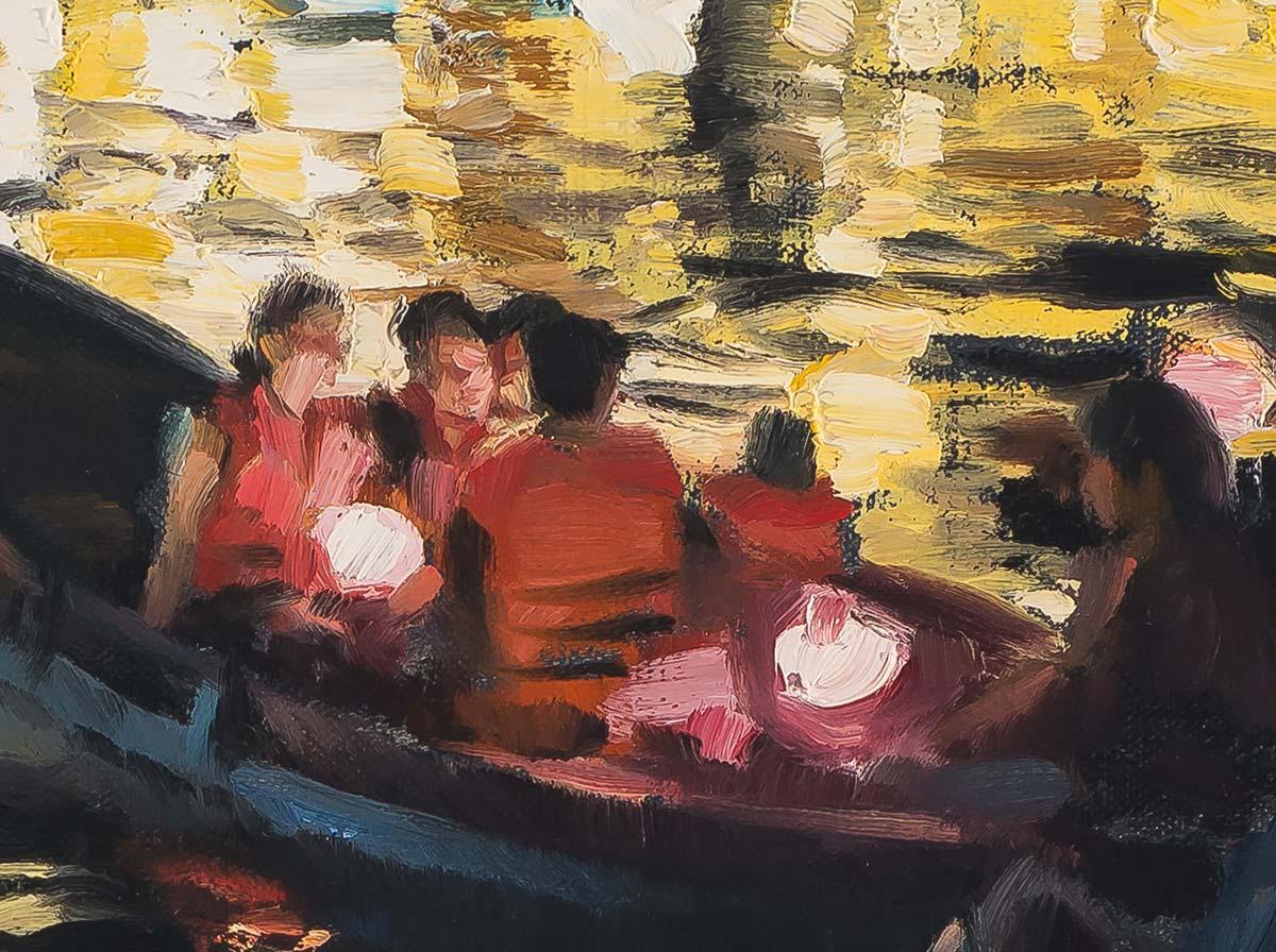 Thu Bon River, Hanoi painting by Paul Oxborough detail