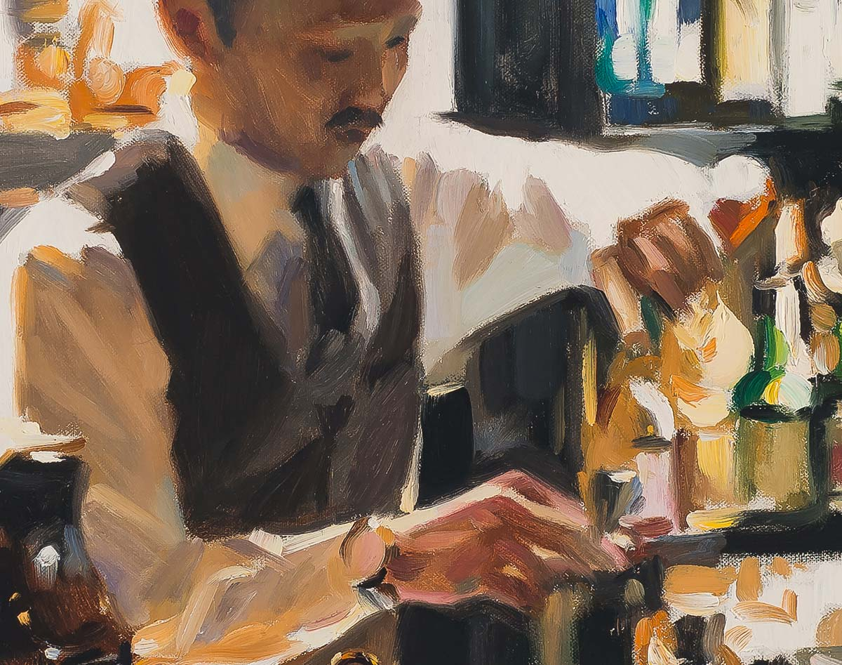 Trench Bar, Tokyo painting by Paul Oxborough detail