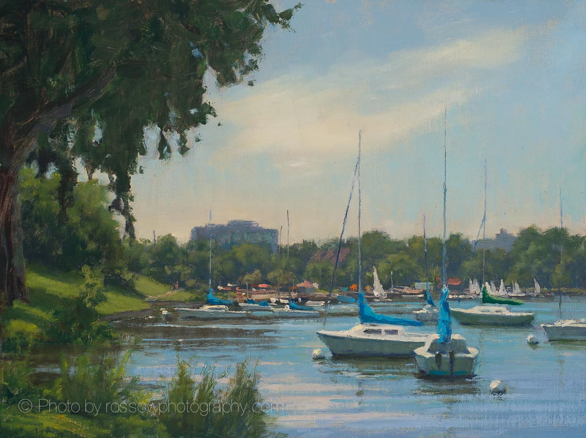 Uptown Boats 12x16-painting by Carl Bretzke