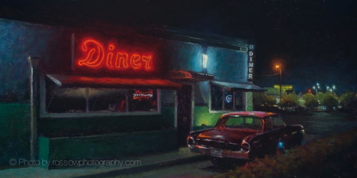 Diner After Hours-Painting by-Carl Bretzke