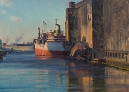 On the Waterfront, Redhook, Brooklyn-24x30-painting by Joe Paquet-