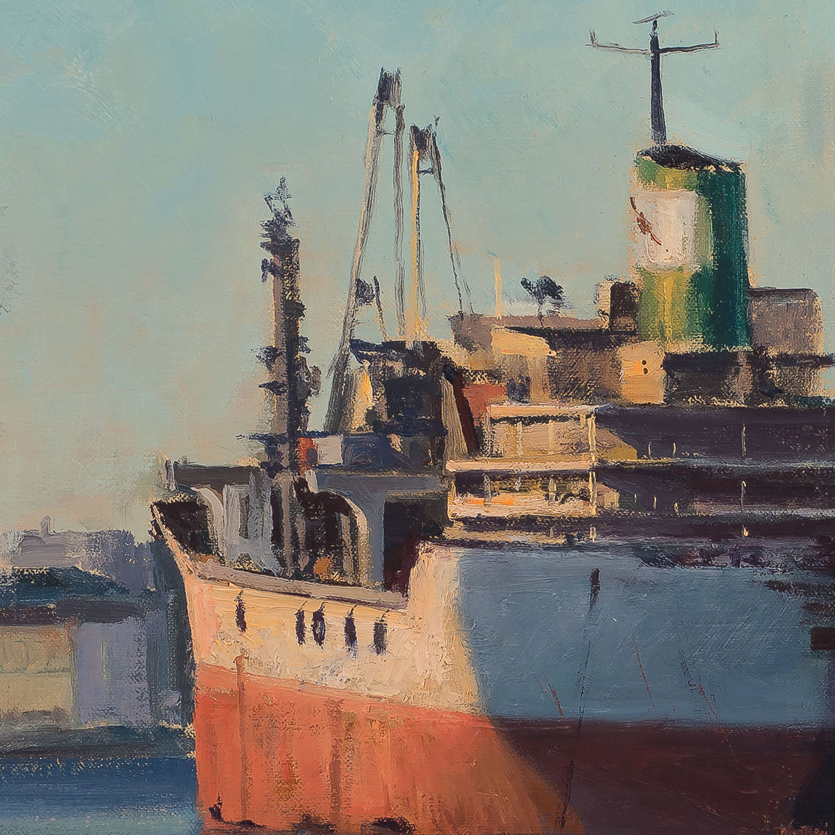 On the Waterfront, Redhook, Brooklyn-24x30-painting by-Joe Paquet-detail