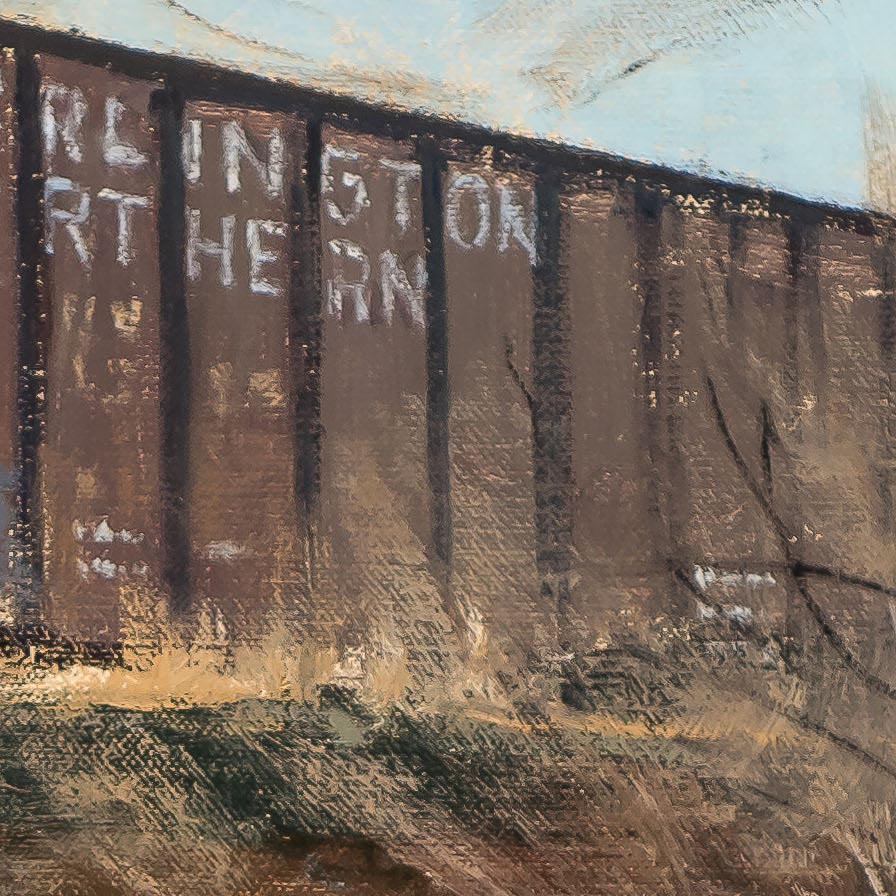 Rail-Stone-and-Steel-30x24-painting by-Joe Paquet-detail-200501