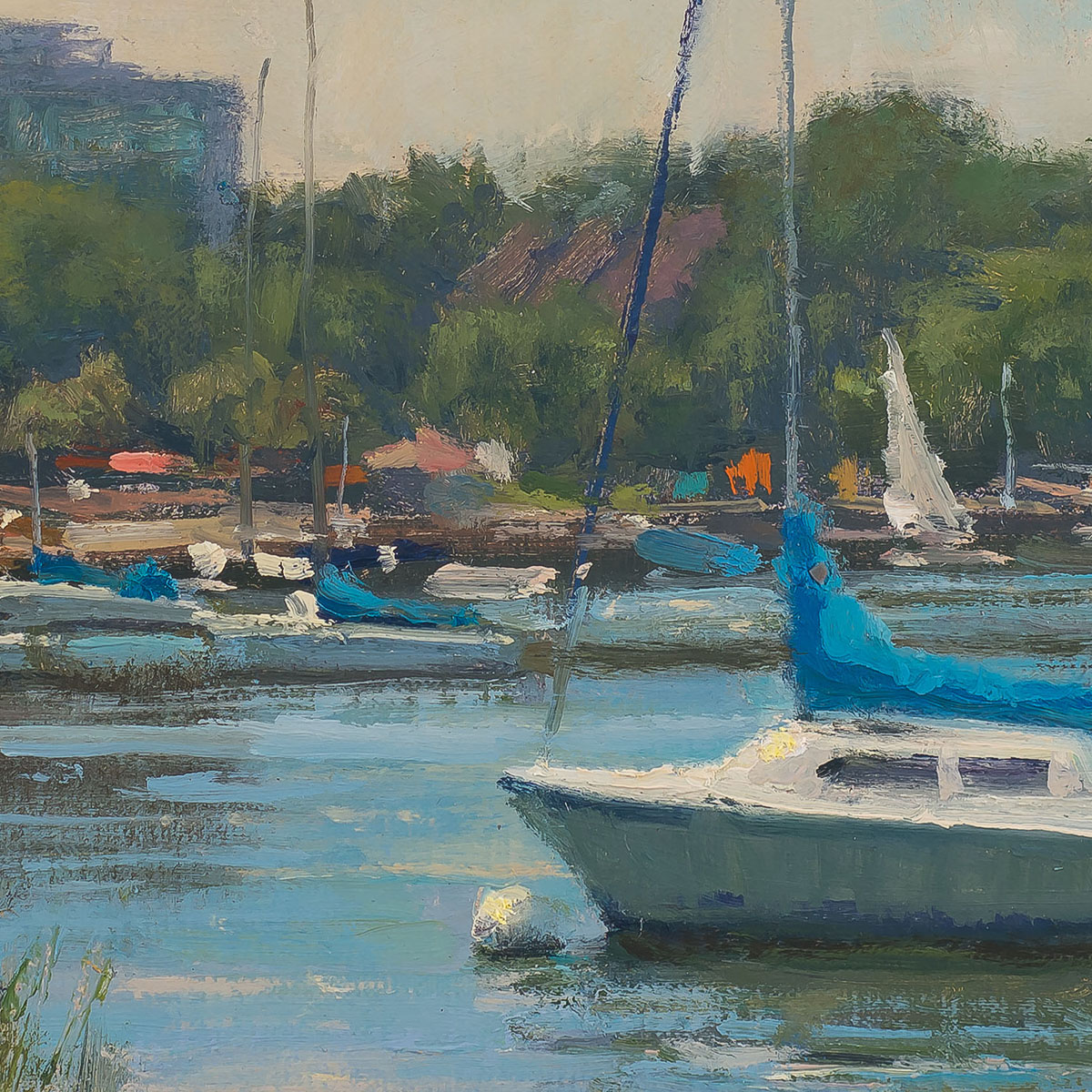 Uptown Boats 12x16-painting by-Carl Bretzke-detail
