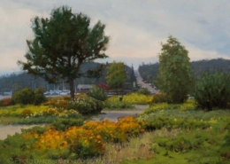 Bayside Park (Grand Marais Plein Air 2019) - Painting by Carl Bretzke