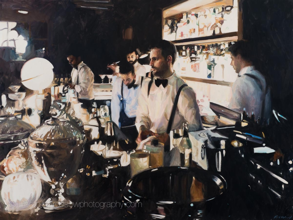 At The Pulitzer Bar 54x72-painting by Paul Oxborough