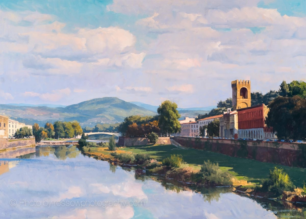 Evening on the Arno 36x50-painting by Joe Paquet