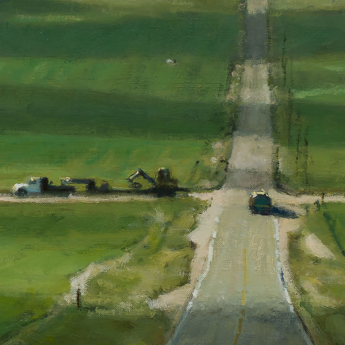 Foothills Crossroad 12x24 painting by Carl Bretzke
