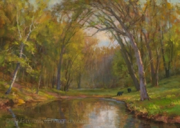 Marty's Pond In Spring-painting by Mary Pettis