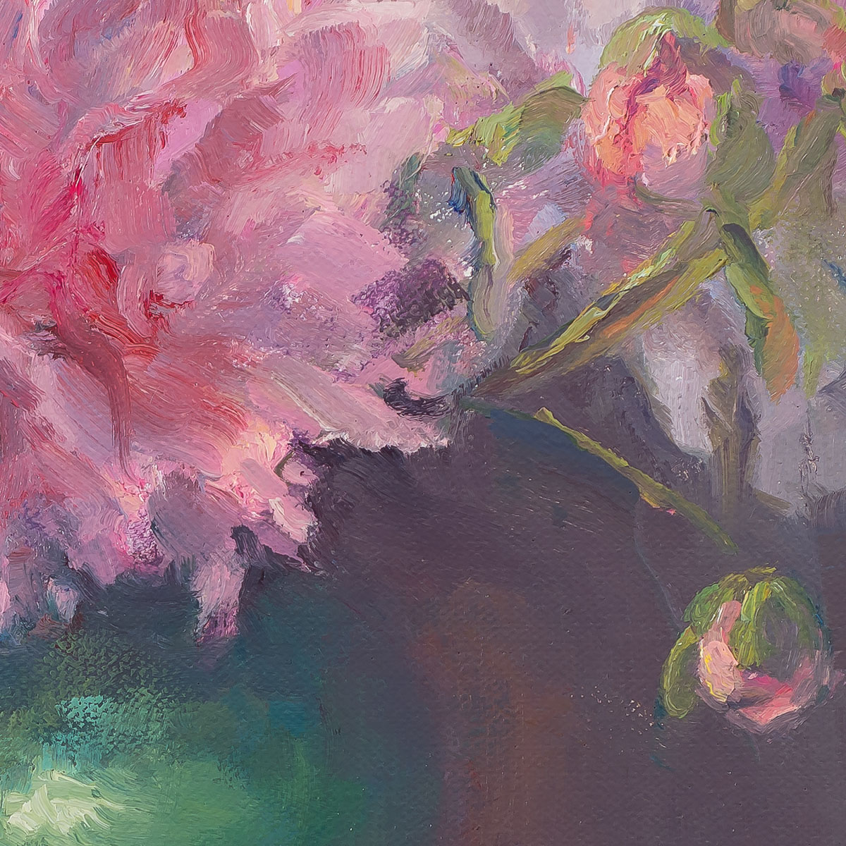 My Garden Peonies-painting by Sue Wipf detail