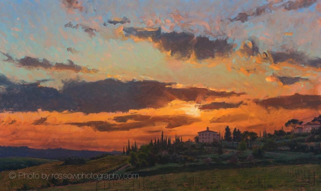 Sunset, Tuscany 30x50-painting by Joe Paquet
