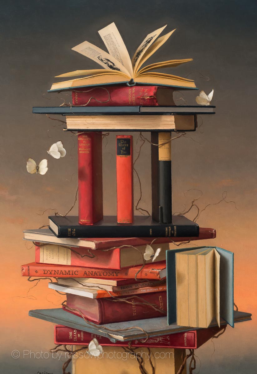 Books & Butterflies 5-painting by Steve Levinphotographed by Mitch Rossow -210731
