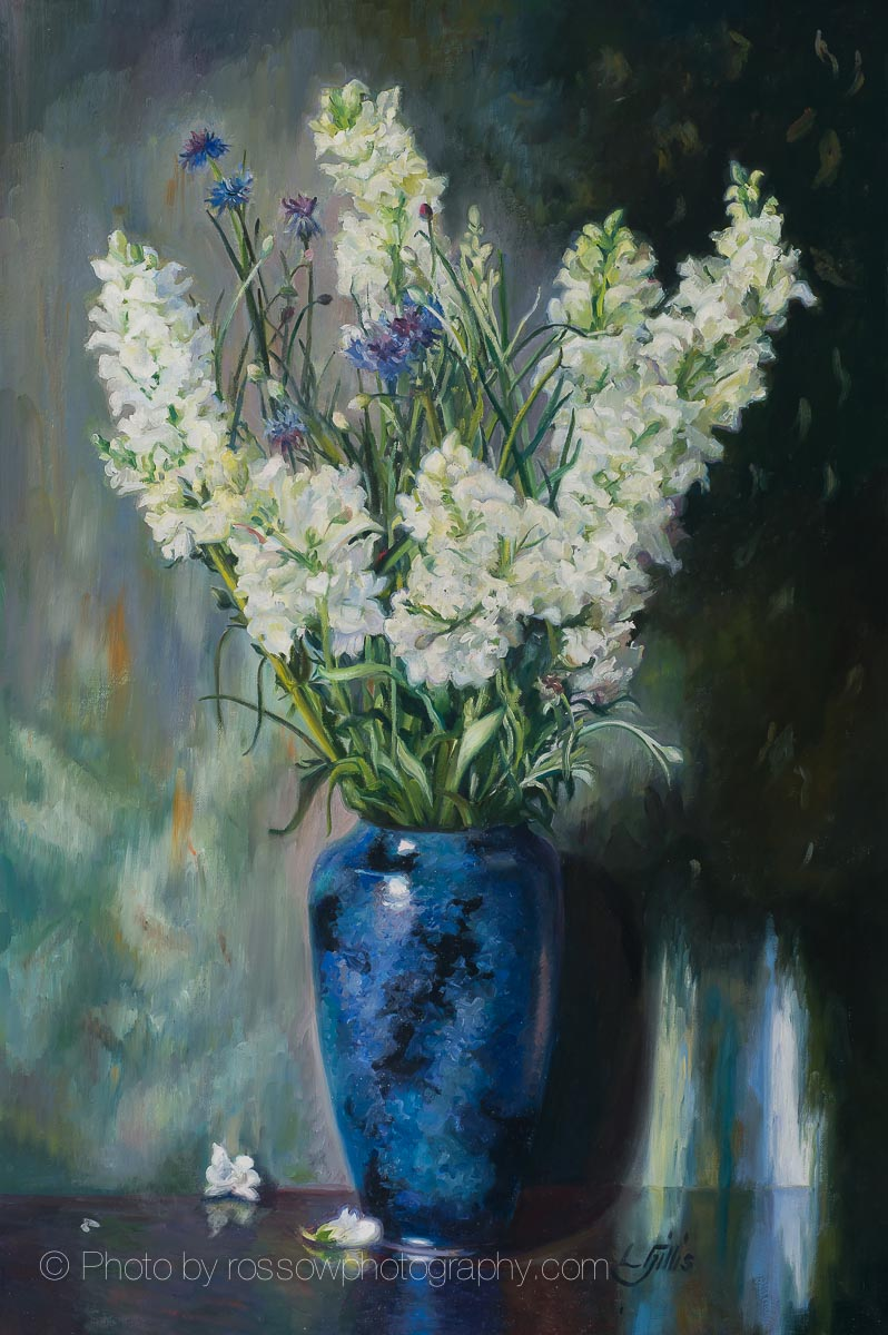 White Snapdragons and Blue Vase 36x24-painting by Louise Gillis