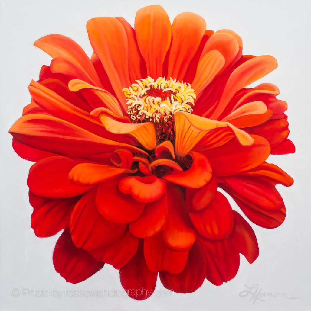 Zinnia-painting by Leanne Hanson