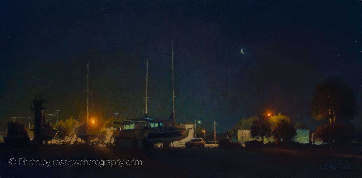Boatyard - Quarter Moon 12x24-painting by Carl Bretzkephotographed by Mitch Rossow