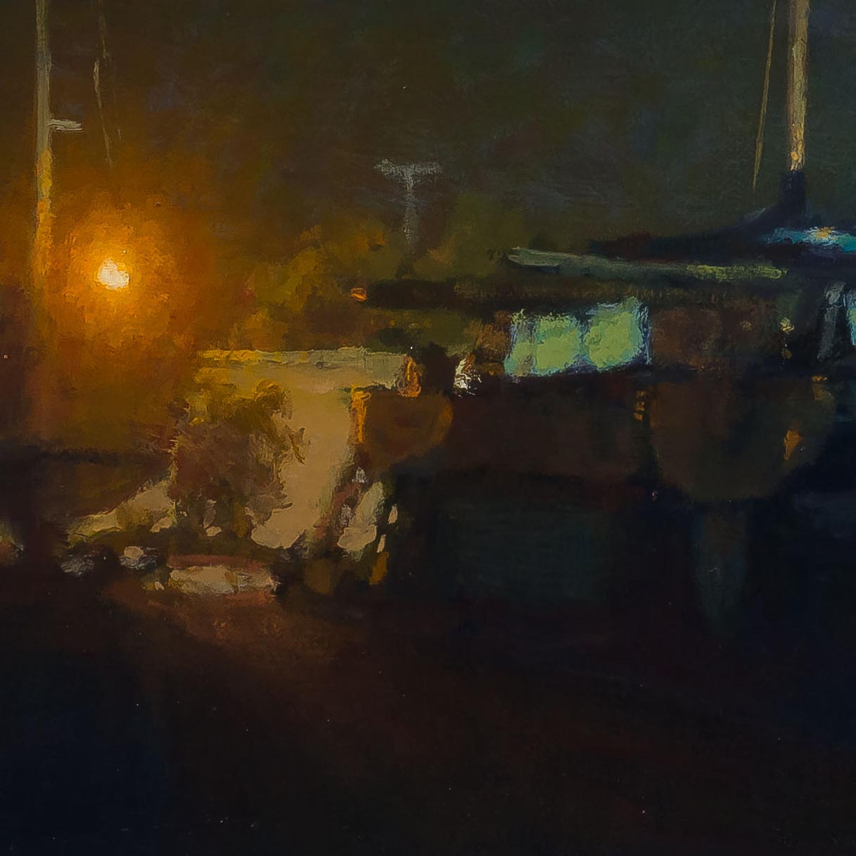 Boatyard - Quarter Moon 12x24-painting byCarl Bretzkephotographed by Mitch Rossow-detail